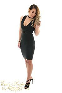 Luxury Bandage Two Piece Black Front