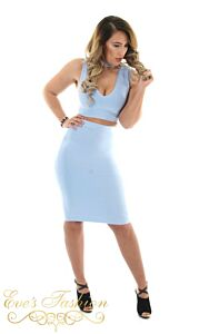 Luxury Bandage Two Piece Blue Front