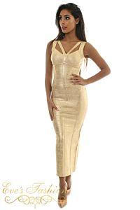 Eve Exclusive Aurelie Bandage Dress Metallic Gold Front