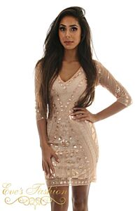 Eve Exclusive Bella Sequin Dress Rose Close