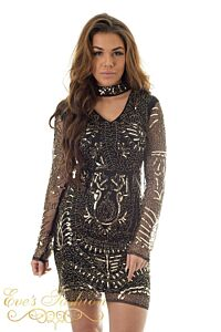 Eve Exclusive Faye Sequin Dress Black/ Gold Close