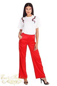 LA Sisters Striped Satin Pants Red