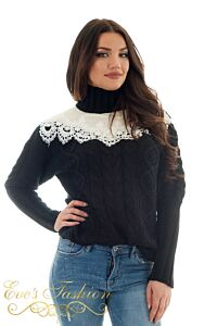Eve Lola Knitted Lace Sweater Black Close
