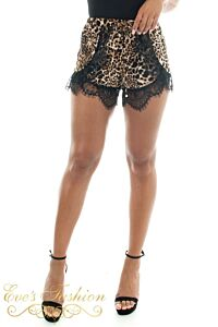 RUNAWAY Reow Shorts Leopard Close Front