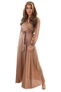 Eve Exclusive Venice Satin Dress Bronze Front Pose