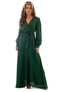 Eve Exclusive Venice Satin Dress Royal Green Front Pose