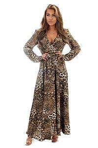 Eve Exclusive Venice Satin Dres Leopard Front