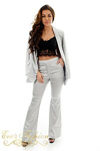 Eve Exclusive Kayla Satin Suit Silver Front