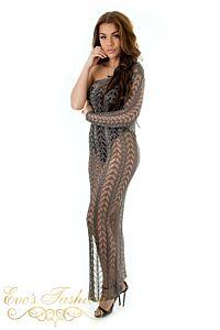 Eve Shiba Metallic Dress Dark Bronze Side Right