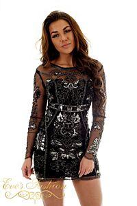 Eve Exclusive Savannah Sequin Dress Black Front Close
