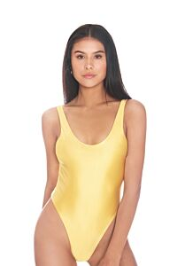 LA Sisters Satin Low Cut Swimsuit Yellow