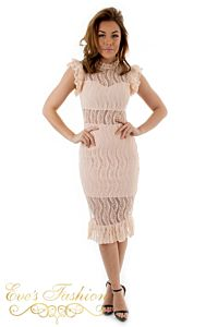 Eve Milany Lace Dress Pink Front