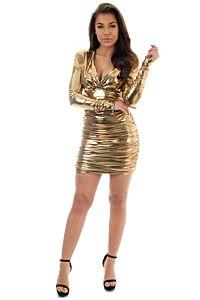 Vicky Metallic Dress Gold