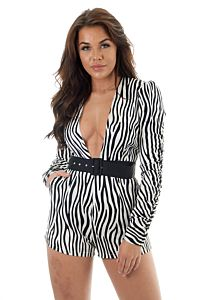 RUNAWAY The Label Jagged Playsuit Close Up Front