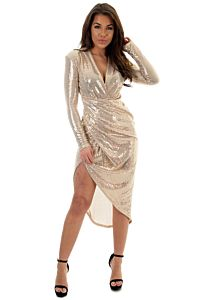 Faye Sequin Long Dress Gold