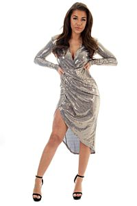 Faye Sequin Long Dress Blue Gold