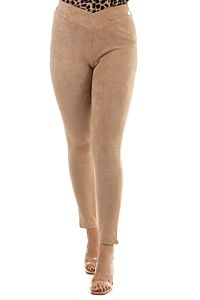 Jacky Luxury Camel Suede Legging Front