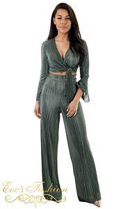 Eve Selene Glam Flare Pants Khaki Front