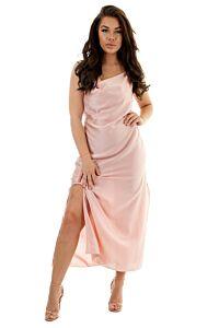 Eve Sabrina Satin Dress Aqua Front