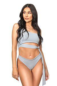 LA Sisters Off-Shoulder Tie Bikini Grey