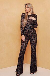 Avery Lace Jumpsuit Black