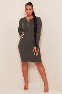 Fay Button Long Sleeve Ribbed Dress Khaki