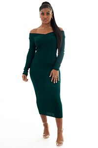 Vivi Doll Ribbed Dress Green