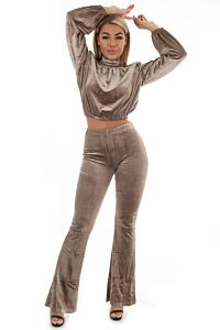 Glennis Velvet Crystal Two Piece Taupe