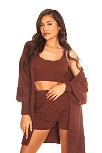 LA Sisters Fluffy Laid Back Three Piece Brown Front