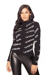 LA Sisters Knitted Logo Turtle Neck Top Black Front