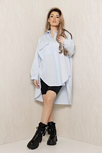 Say When Oversized Blouse Dress Baby Blue