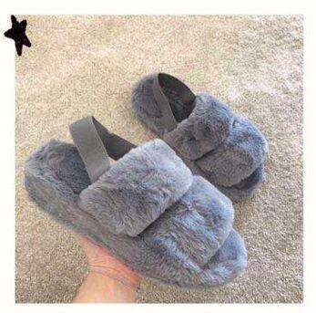 Eve Fluffy  Strap Slides Grey