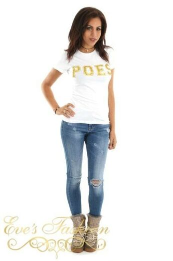 POES Tshirt White / Gold Front