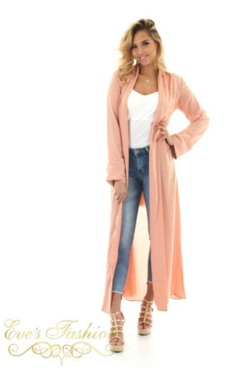 Damy Duster Coat Pink Front