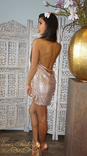 Kayli Sequin Dress Rose Gold