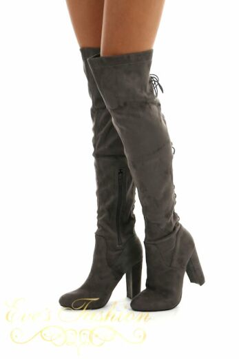 Lace Up Over the knee boots Grey
