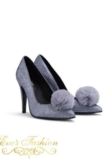 Fashion Chic Heels Glitter Silver Front