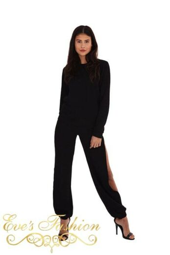Ribbed Cut Out Two Piece Black