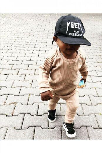 By Veer Kids V-Neck Sweater Light Brown Sfeer Front