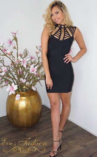 Luxury Bandage Queen Dress Black