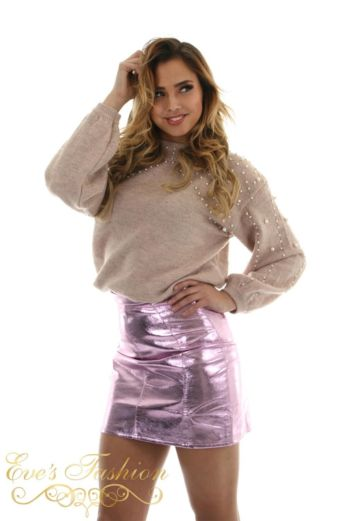 Byron Mini Skirt Metallic Berry