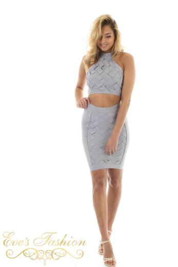Luxury Bandage Two Piece Heavenly Grey Front