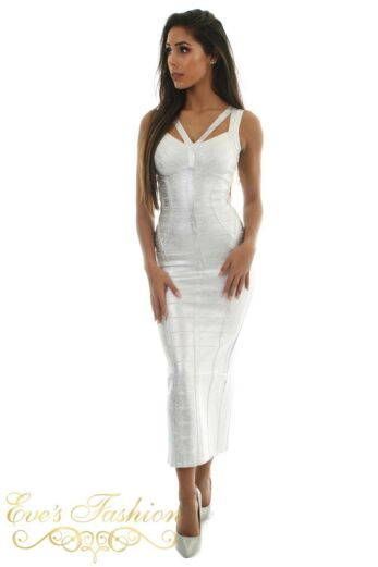 Eve Exclusive Aurelie Bandage Dress Metallic Silver Front