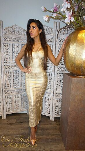 Aurelie Bandage Dress Metallic Gold