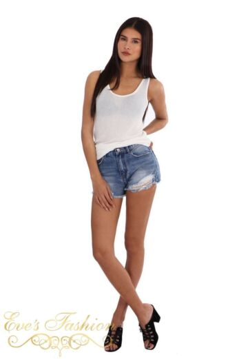 LA Sisters Knitted Basic Singlet White front