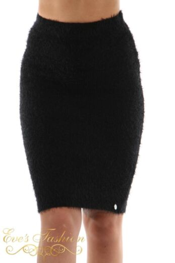 Jacky Luxury Fluffy Knit Skirt Black Front