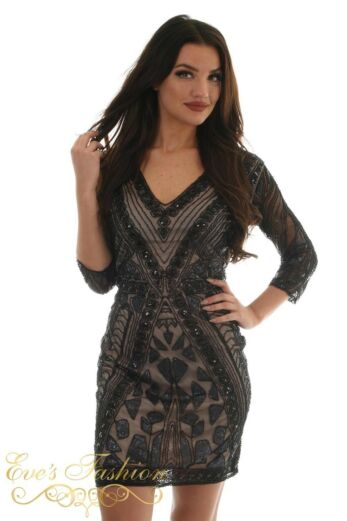 Eve Exclusive Bella Sequin Dress Black/Nude Close