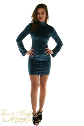 Jacky Luxury Petrol Suede Dress Front