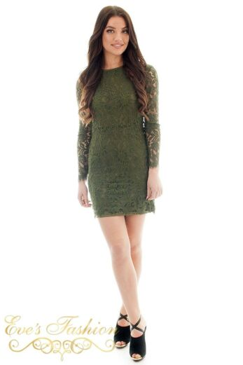 Jacky Luxury  Lace Flower Dress Army Front