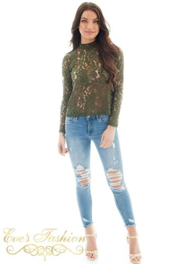 Jacky Luxury  Lace Flower Top Army Front Front